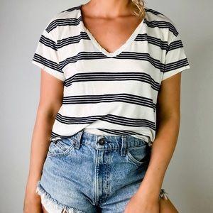 STATESIDE | White Striped Short Sleeve Tee H70